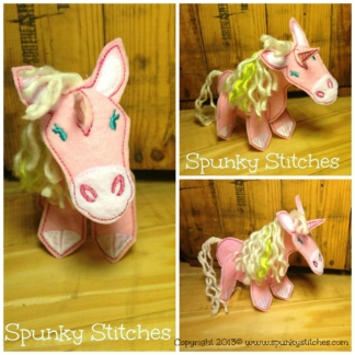 3D unicorn felt toy in the hoop embroidery file by spunky stitches
