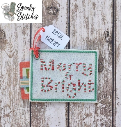 merry Gift card holder in the hoop embroidery file by spunky stitches
