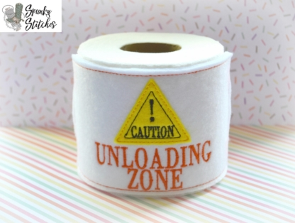 Unloading zone toilet paper wrap in the hoop embroidery file by spunky stitches