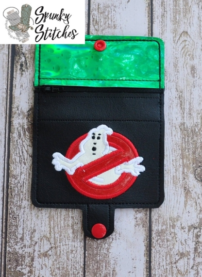 Ghostbusters mini zipper wallet key fob in the hoop embroidery file by spunky stitches