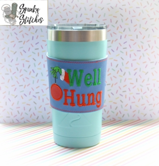 Well Hung Cup Wrap in the hoop embroidery file by spunky stitches