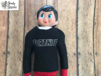 Fortnite elf shirt in the hoop embroidery file by Spunky Stitches