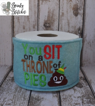 Throne of pies toilet paper wrap in the hoop embroidery file by spunky stitches