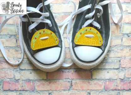 Taco Shoe Tags in the hoop embroidery file by spunky stitches