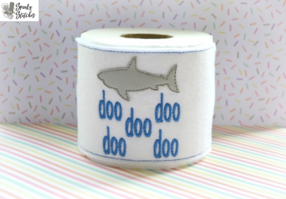 Sharks doo doo doo doo Toilet Paper Wrap in the hoop embroidery file by spunky stitches