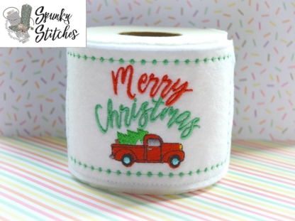 Merry Christmas Truck Toilet Paper Wrap in the hoop embroidery file by spunky stitches