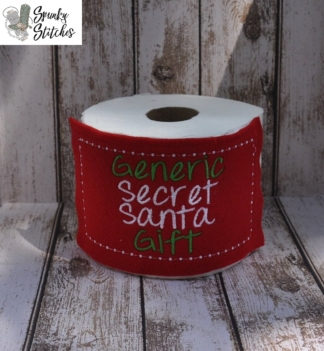 Generic Secret Santa Toilet Paper Wrap in the hoop embroidery file by spunky stitches