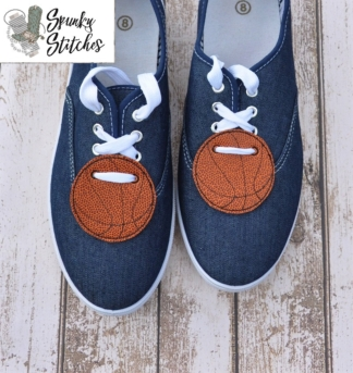 Basketball shoe tags in the hoop embroidery file by spunky stitches