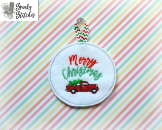 Merry Christmas Truck Ornament in the hoop embroidery file by spunky stitches
