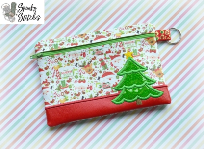 Christmas tree zipper bag in the hoop embroidery file by spunky stitches
