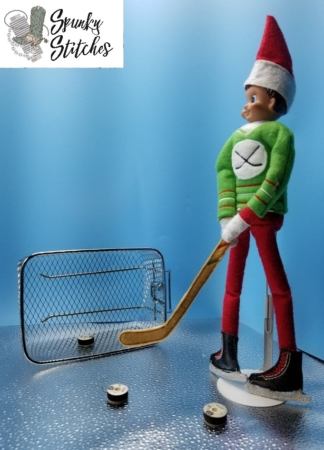 Hockey elf shirt in the hoop embroidery file by spunky stitches