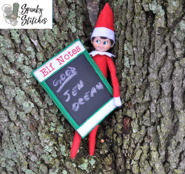 Elf Notes Board in the hoop embroidery file by spunky stitches