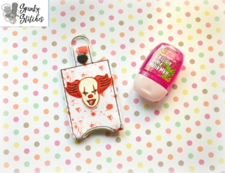 IT hand sanitizer key fob in the hoop embroidery file by spunky stitches