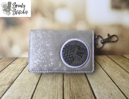Stark Mini zipper key fob wallet in the hoop embroidery file by spunky stitches
