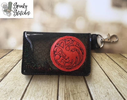 Targaryn Mini zipper key fob wallet in the hoop embroidery file by spunky stitches