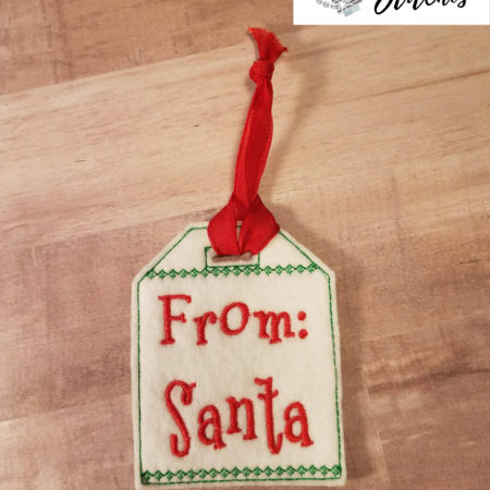 From Santa gift tag in the hoop embroidery file by spunky stitches