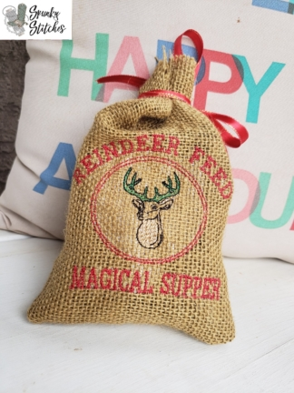 Elf REindeer Feed Bag in the hoop embroidery file by spunky stitches