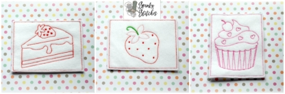Color Me strawberry set in the hoop embroidery file by spunky stitches