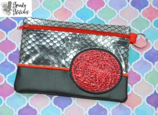 Targaryn zipper bag in the hoop embroidery file by spunky stitches