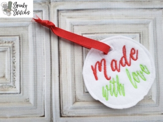 made with love Gift Tag in the hoop embroidery file by spunky stitches