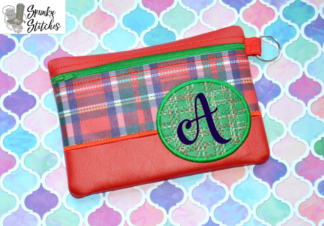 Plaid Circle Zipper Bag in the hoop embroidery file by spunky stitches
