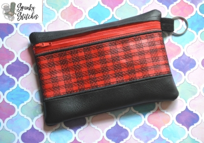 Top Plaid zipper bag in the hoop embroidery file by spunky stitches
