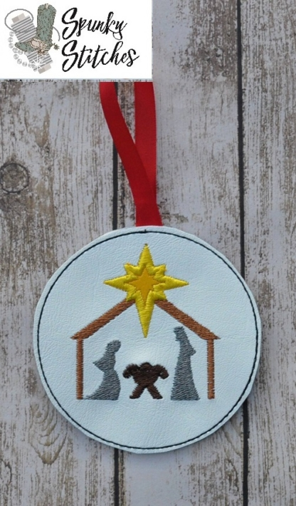 Manger ornament in the hoop embroidery file by spunky stitches