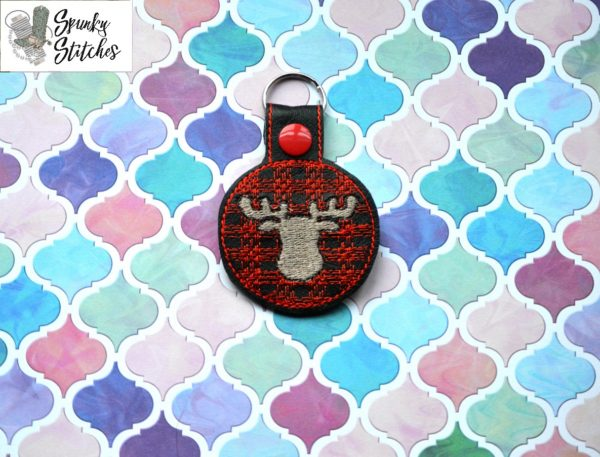 Plaid Moose key fobr in the hoop embroidery file by spunky stitches