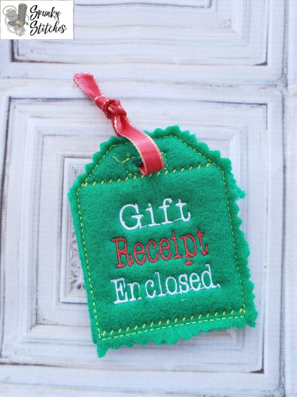 Gift Receipt Enclosed gift tag in the hoop embroidery file by spunky stitches
