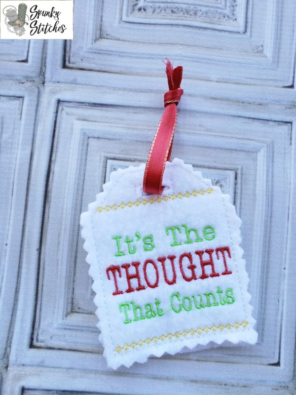 Thought that counts gift tag in the hoop embroidery file by spunky stitches