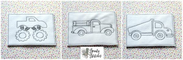 truck color me set in the hoop embroidery file by spunky stitches