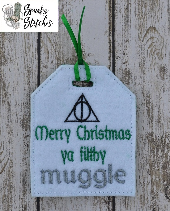muggle gift tag in the hoop embroidery file by spunky stitches