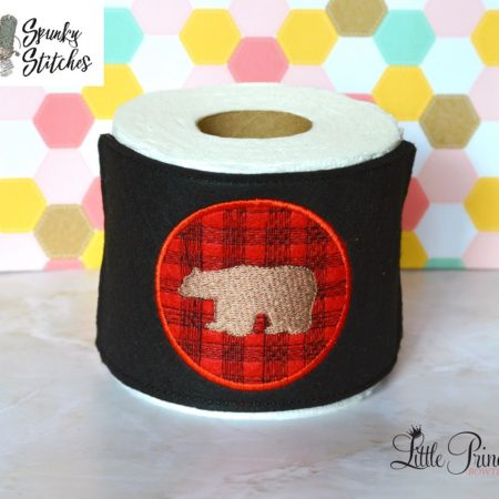 bear plaid toilet paper wrap in the hoop embroidery file by spunky stitches
