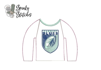 cardiff blues elf raglan in the hoop embroidery file by spunky stitches