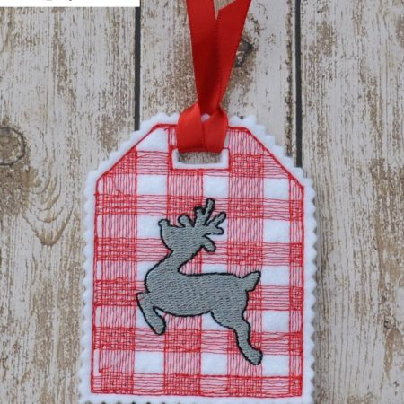 deer plaid gift tag in the hoop embroidery file by spunky stitches