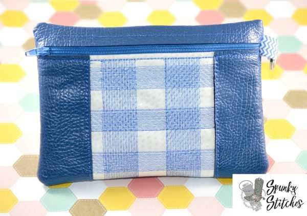 Large Center plaid zipper bag in the hoop embroidery file by spunky stitches
