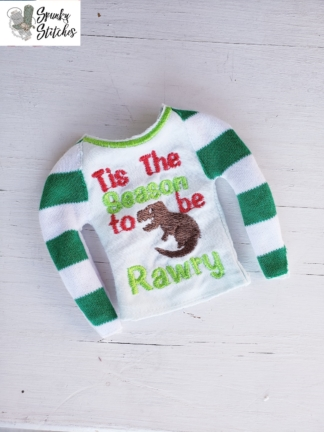 Elf Rawry dino raglan in the hoop embroidery file by spunky stitches