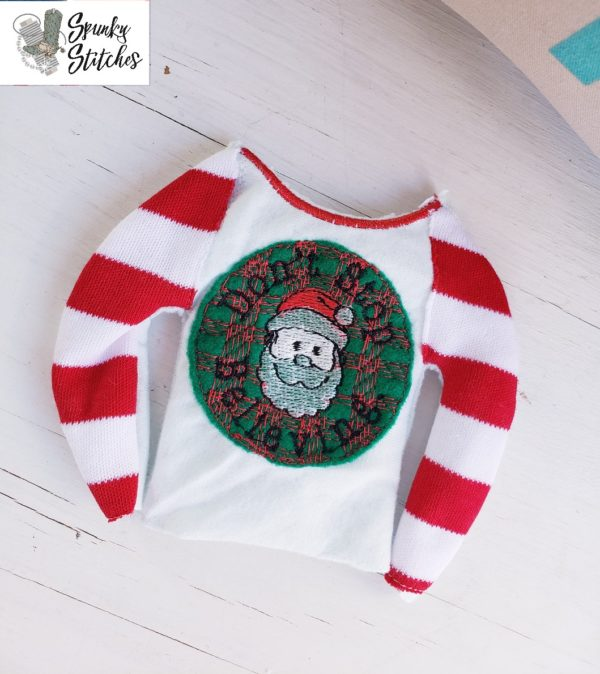 Elf stop believing raglan in the hoop embroidery file by spunky stitches