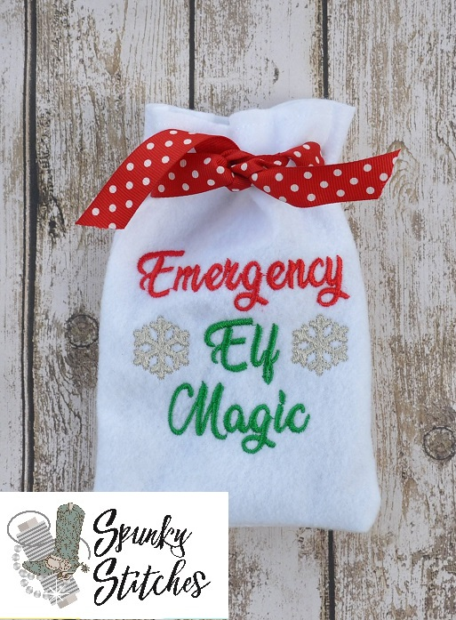Elf emergency magic recovery kit in the hoop embroidery file by spunky stitches