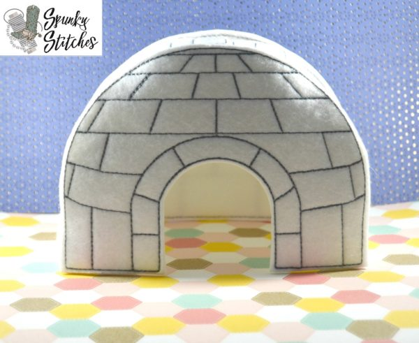 Elf igloo in the hoop embroidery file by spunky stitches