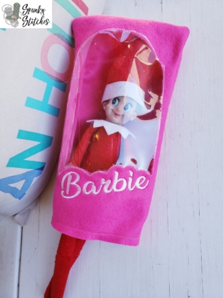 Elf barbie box costume in the hoop embroidery file by spunky stitches