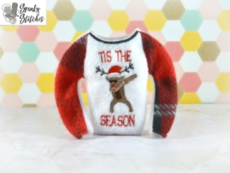 dabbing reindeer raglan in the hoop embroidery file by spunky stitches