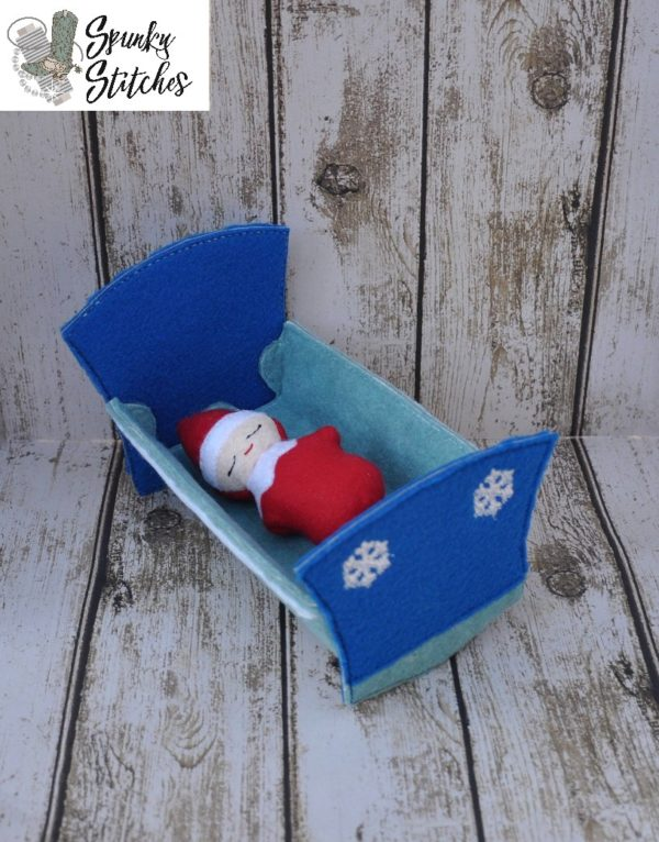 Elf baby crib in the hoop embroidery file by spunky stitches