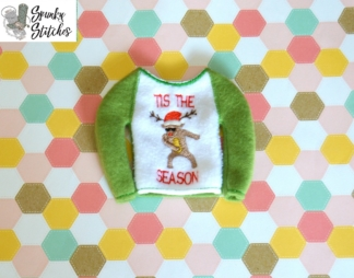 Elf Flossing deer raglan in the hoop embroidery file by spunky stitches