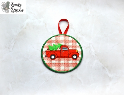 Truck Plaid Ornament in the hoop file by spunky stitches