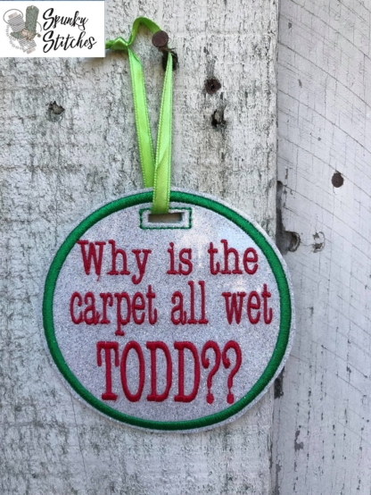 todd ornament in the hoop embroidery file by spunky stitches.