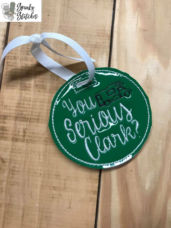 serious clark ornament in the hoop embroidery file by spunky stitches.