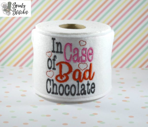in case of bad chocolate toilet paper holder in the hoop embroidery file by spunky stitches