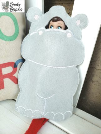 Elf hippo costume in the hoop embroidery file by spunky stitches.