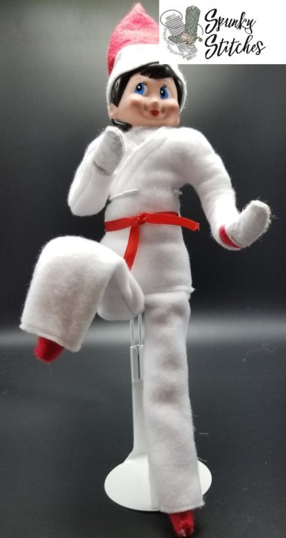 elf karate costume in the hoop embroidery file by spunky stitches.